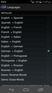 World Lens provides a selection of built in language translations which you can use.